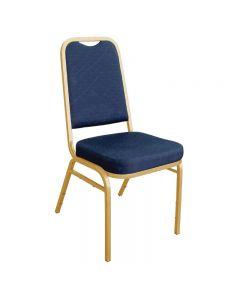 Banketstoelen met rechte rug in blauw per 4 stuks