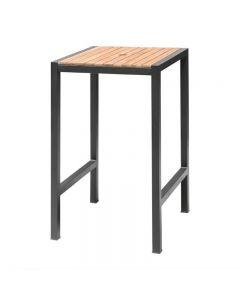 Hoge tafel van staal en hout