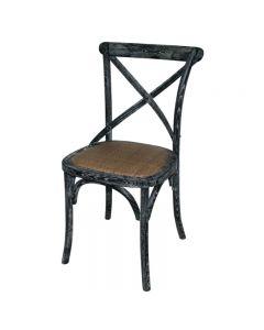 Houten stoel met rugleuning black wash