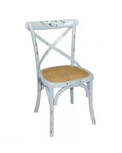 Houten stoel antiek blue wash met rugleuning per 2 stuks
