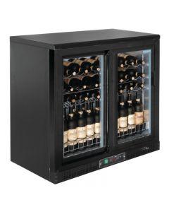 Wijnkoelkast met schuifdeuren zwart